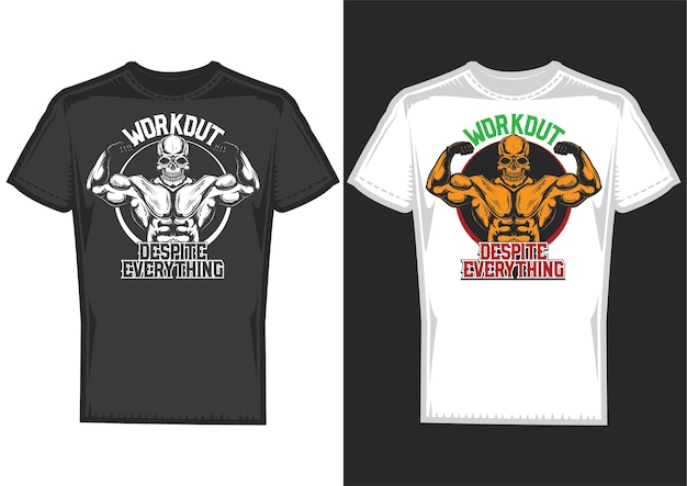 T-shirt design samples with illustration of a skull with big muscles. Free Vector