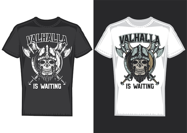 T-shirt design samples with illustration of a viking's skull with helmet and axes. Free Vector