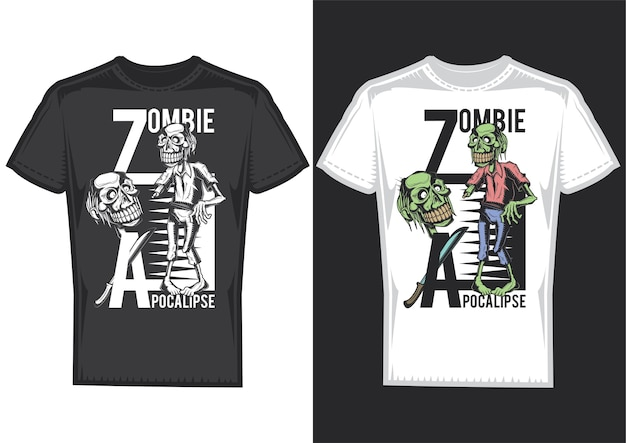 T-shirt design samples with illustration of zombies. Free Vector