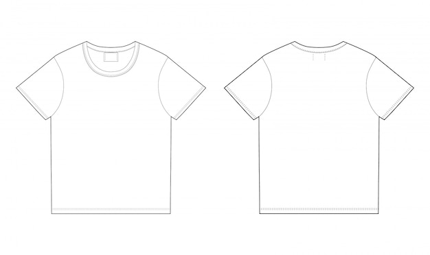 T-shirt design template. front and back Premium Vector