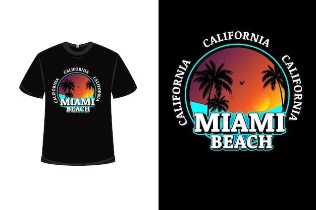 오렌지와 블루의 캘리포니아 마이애미 비치와 티셔츠 디자인 프리미엄 벡터