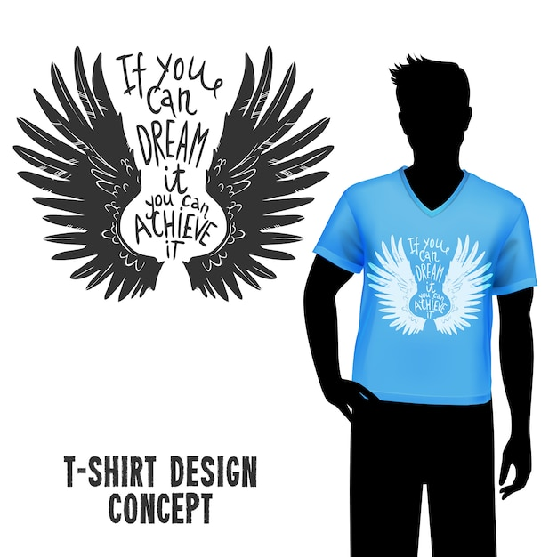 T-shirt design with lettering Free Vector