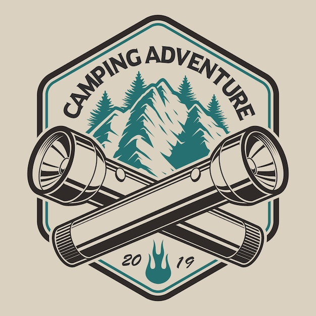 T-shirt design with a mountain, flashlight  in vintage style on the camping theme. perfect for t-shirt design. layered Premium Vector