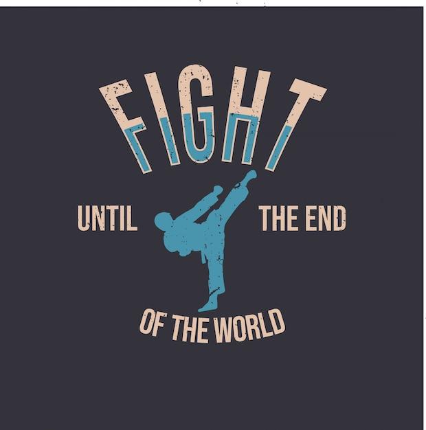 Дизайн футболки с силуэт человека, делающего свой удар, карате, боевое искусство, простая иллюстрация Premium векторы