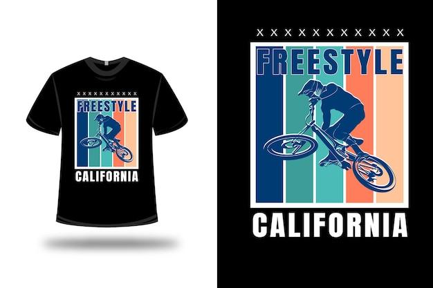 티셔츠 자유형 캘리포니아 색상 블루 그린과 크림 프리미엄 벡터