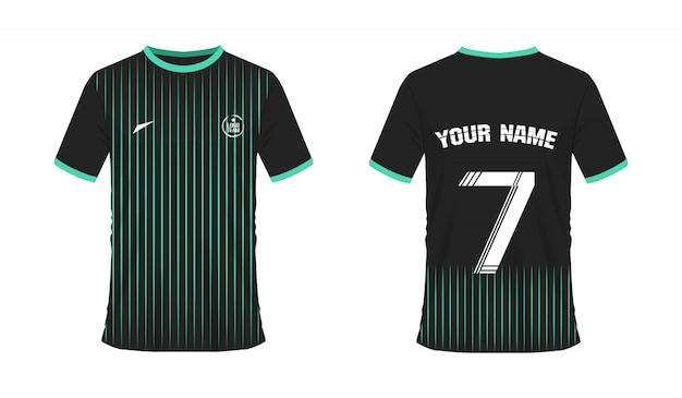 T-shirt green and black soccer or football template for team club Premium Vector
