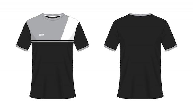 Футболка серый и черный футбол или футбол шаблон для команды клуба на белом фоне. джерси спорт, Premium векторы