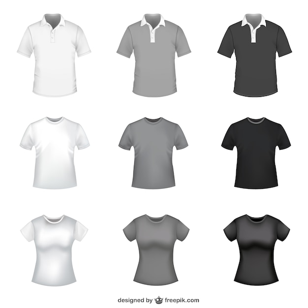 Tshirt In White Grey And Black For Men And Women Vector Free - Design a shirt template