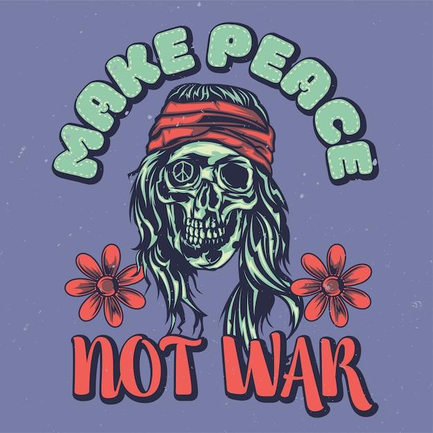 Design dell'etichetta della maglietta con illustrazione di hippie morto Vettore gratuito