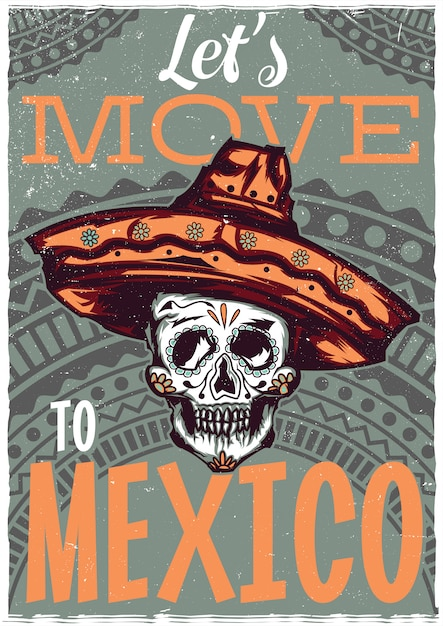 Design dell'etichetta della maglietta con illustrazione del teschio messicano in sombrero Vettore gratuito