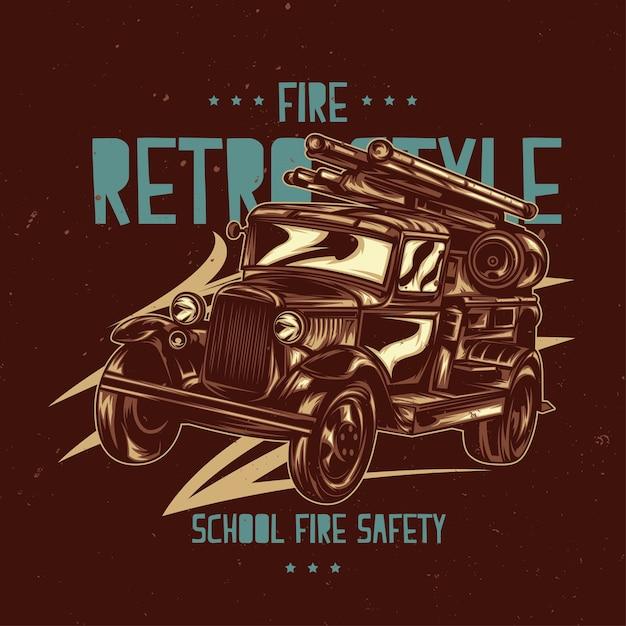 Etichetta t-shirt con illustrazione del camion dei pompieri vintage. Vettore gratuito