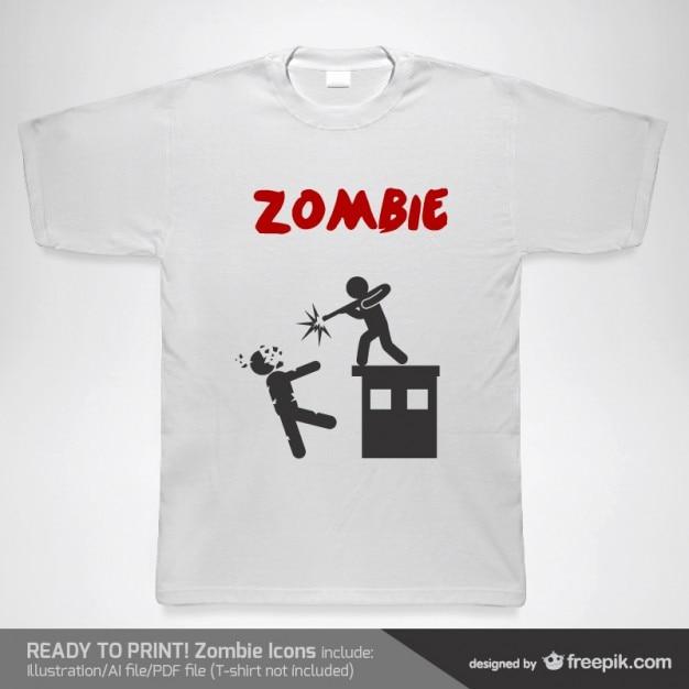 T-shirt man shooting a zombie Free Vector