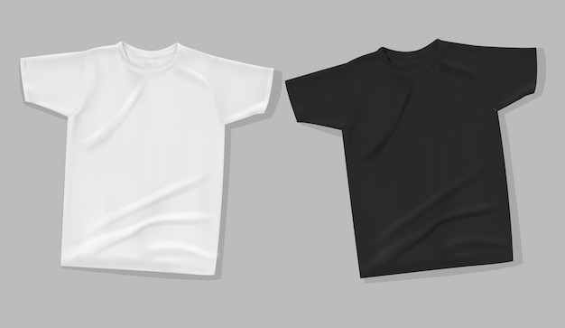 T-shirt mock up on gray background. Premium Vector