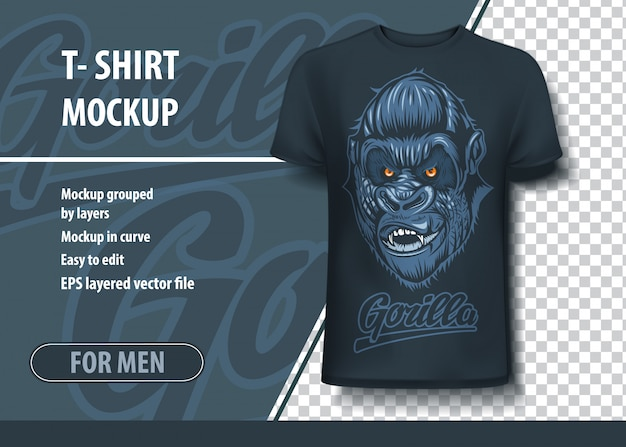 T-shirt mock-up template with gorilla inscription and scary head. editable layout. Premium Vector