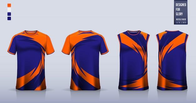 T-shirt mockup, sport shirt template design for soccer jersey Premium Vector