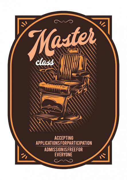 Дизайн футболки или плаката с изображением парикмахерского кресла. Бесплатные векторы
