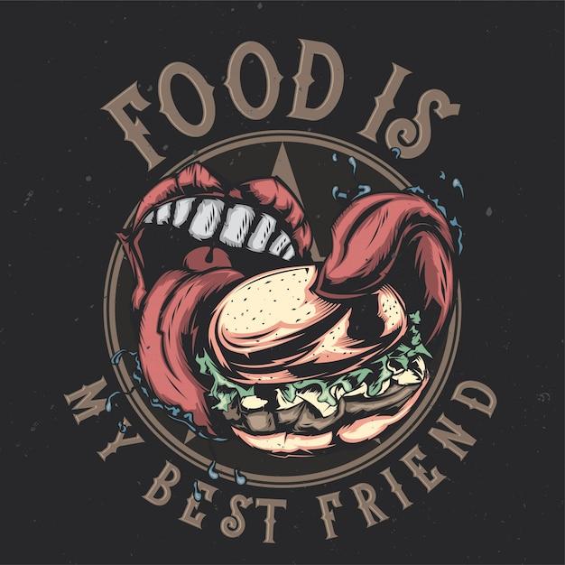 Дизайн футболки или плаката с изображением большого рта, поедающего большой бургер Бесплатные векторы