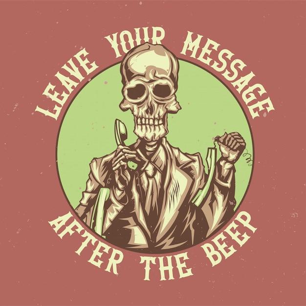 죽은 콜 센터 운영자의 삽화가 포함 된 티셔츠 또는 포스터 디자인 무료 벡터
