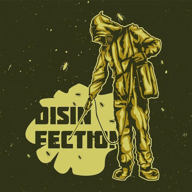 Дизайн футболки или плаката с изображением мужчин дезинфекции Бесплатные векторы