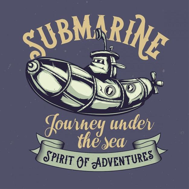 Дизайн футболки или плаката с изображением забавной подводной лодки Бесплатные векторы