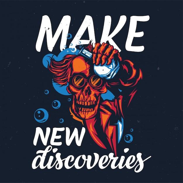 Дизайн футболки или плаката с изображением профессора-скелета Бесплатные векторы