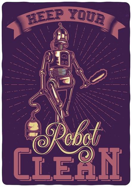 フーバーとロボットのイラストを使用したtシャツまたはポスターのデザイン。 無料ベクター