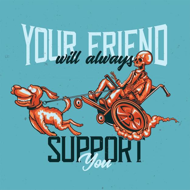 강아지와 해골의 일러스트와 함께 티셔츠 또는 포스터 디자인. 무료 벡터