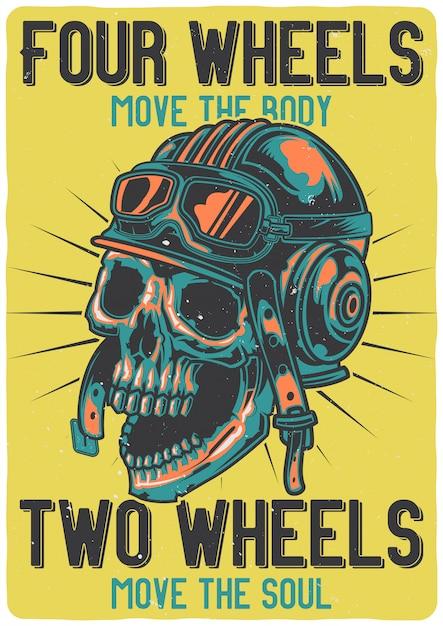 Дизайн футболки или плаката с изображением черепа со шлемом. Бесплатные векторы