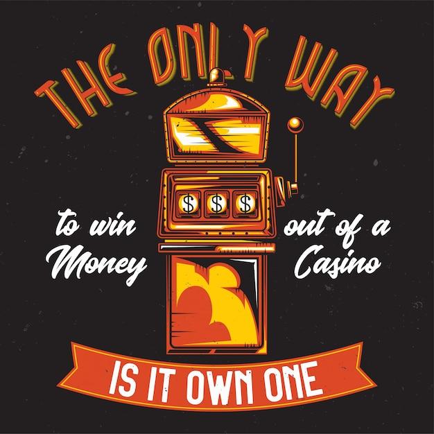 Дизайн футболки или плаката с изображением игрового автомата. Бесплатные векторы
