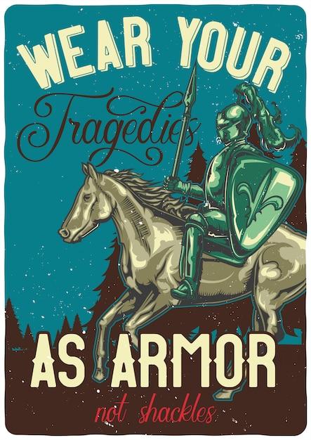 Tシャツやポスターデザイン、馬の騎士のイラスト。 無料ベクター