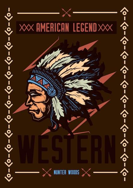 帽子をかぶったネイティブアメリカンのイラストが描かれたtシャツやポスターのデザイン。 無料ベクター
