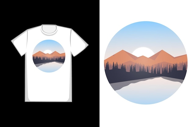 朝のtシャツ松の木湖 Premiumベクター