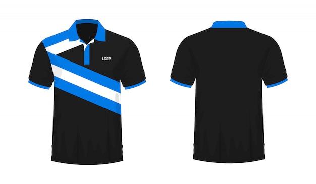 デザインのtシャツポロ青と黒のテンプレート。 Premiumベクター