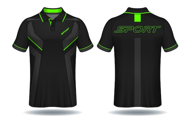 T-shirt polo design, sport jersey template. Premium Vector