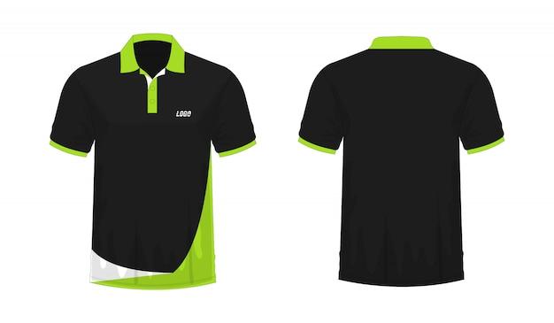 Tシャツポログリーンとブラックtイラスト Premiumベクター