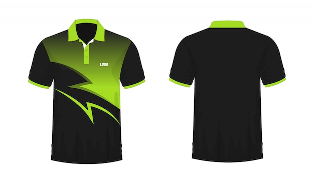 T-shirt polo green and black t illustration Premium Vector