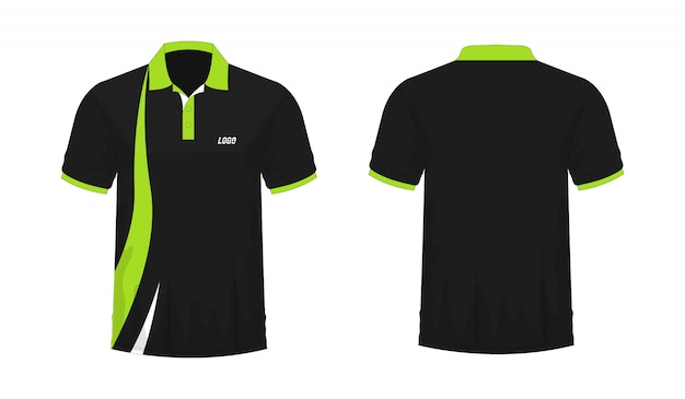 T-shirt polo green and black template for design on white background. Premium Vector