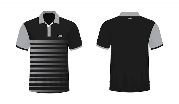 T-shirt polo grey and black template for design on white background. Premium Vector