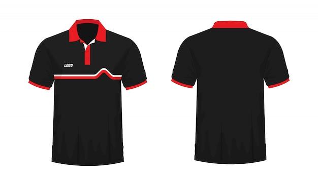Tシャツポロ赤と黒のtイラスト Premiumベクター