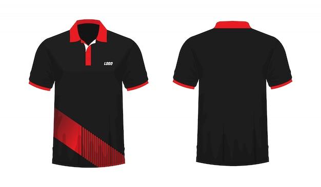 デザインのtシャツポロ赤と黒のテンプレート。 Premiumベクター