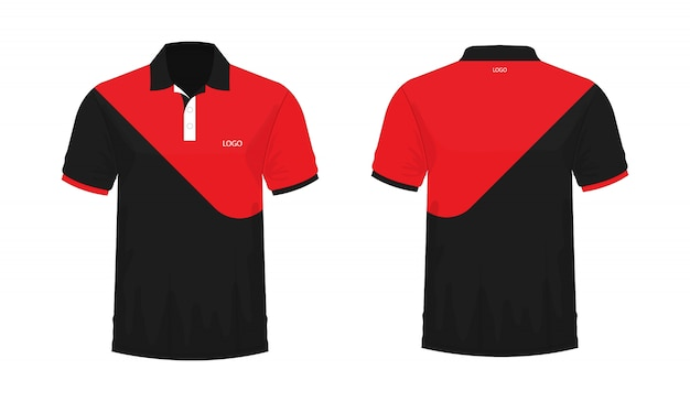 T-shirt polo red and black template for design on white background. vector illustration eps 10. Premium Vector