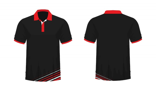 T-shirt polo red and black template for design on white background. Premium Vector