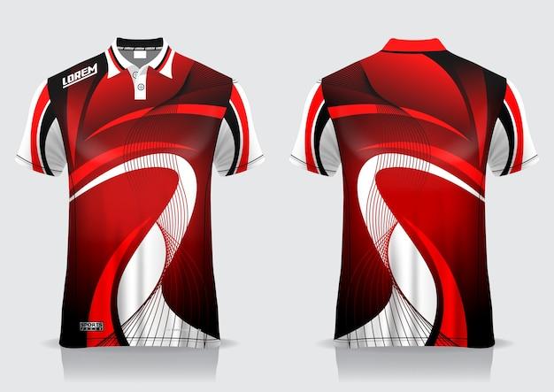Футболка-поло спортивный дизайн, макет джерси для бадминтона для шаблона униформы Premium векторы