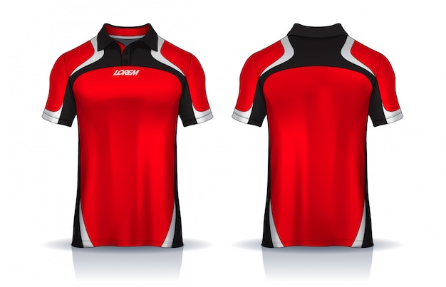 T-shirt polo templates design. uniform front and back view. Premium Vector