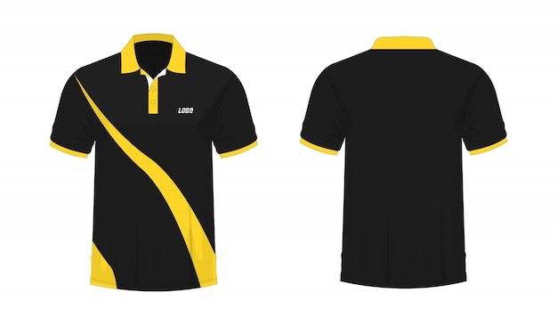 T-shirt polo yellow and black template for design on white background. Premium Vector