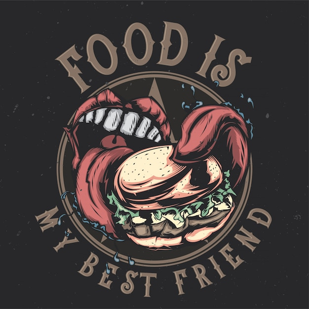T-shirt or poster design with illustraion of big mouth eating big burger Free Vector