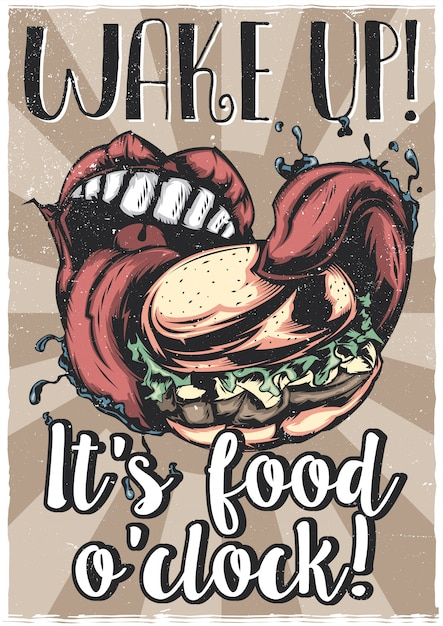 T-shirt o poster design con illustrazione di una grande bocca che mangia un grande hamburger Vettore gratuito