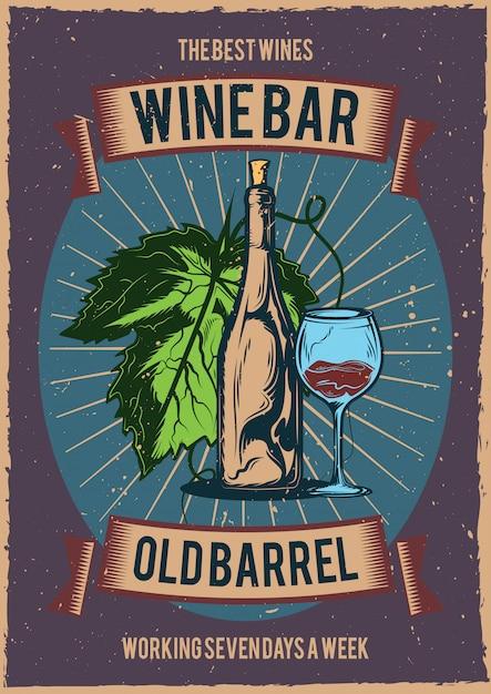 T-shirt o poster con illustrazione di una bottiglia di vino e un bicchiere. Vettore gratuito