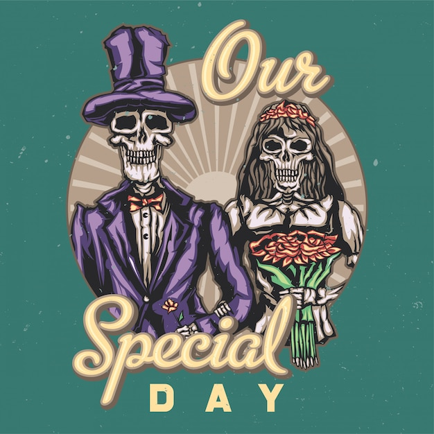 T-shirt or poster design with illustraion of dead bride and groom Free Vector