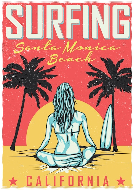 T-shirt or poster design with illustraion of girl with surfing board Free Vector